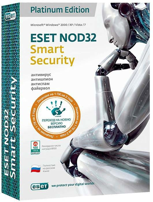 Eset NOD32 Smart Security Platinum Edition (на 1 ПК) Лицензия на 2 года (PC CD)
