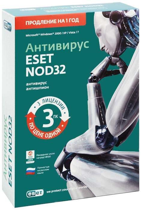 Eset NOD32 Антивирус Продление лицензии на 1 год на 3 ПК (PC CD)
