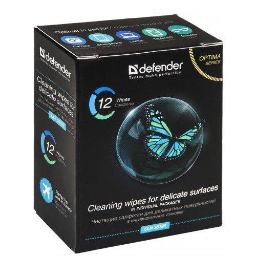 Чистящиe влажные салфетки DEFENDER для оптических поверхностей 30193 12 штук